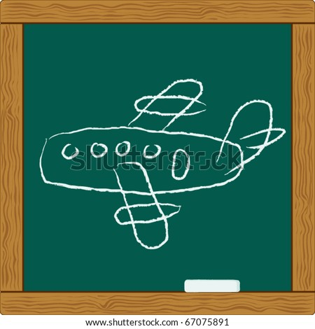 blackboard with chalk scribbles draw of flying airplane