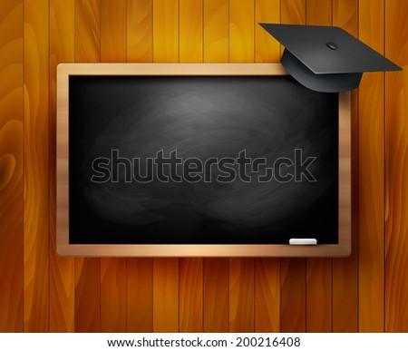 Blackboard with  graduation cap. Vector.  - stock vector