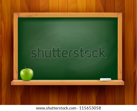 Blackboard with green apple on wooden background. Vector illustration. - stock vector