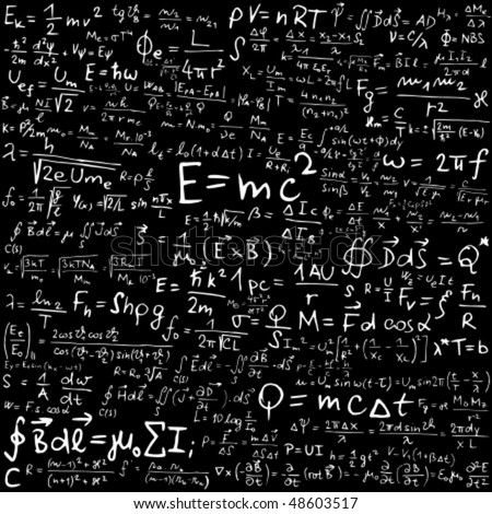 Blackboard with physical equations and formulas - vector illustration - stock vector