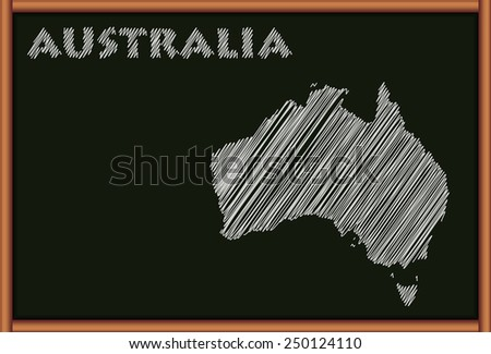 Blackboard with the Map of Australia - stock vector