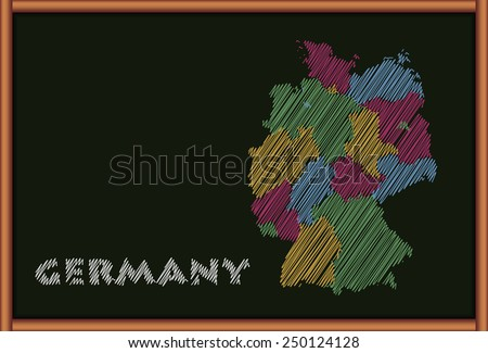 Blackboard with the Map of Germany - stock vector