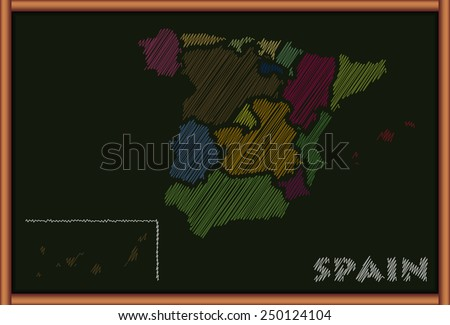 Blackboard with the Map of Spain - stock vector
