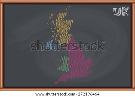 Blackboard with the Map of UK - stock vector
