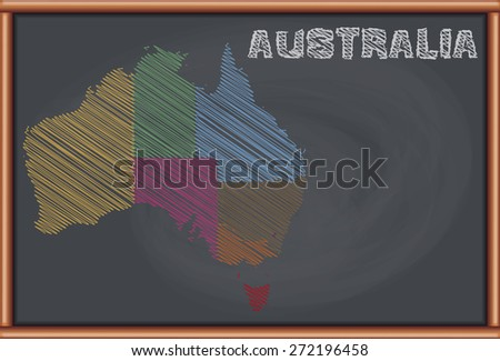 Blackboard with the Political Map of Australia - stock vector