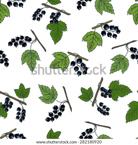 Blackcurrant seamless pattern. A healthy diet is a flat style of illustration. Isolated green food, can be used in the restaurant's menu, cooking the books, organic farming, packaging