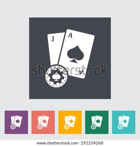 Blackjack. Single flat icon on the button. Vector illustration. - stock vector