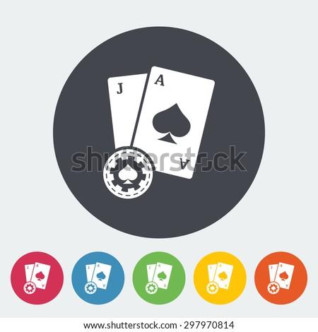 Blackjack. Single flat icon on the circle button. Vector illustration. - stock vector
