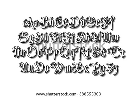 Blackletter Gothic Script Hand Drawn Font Art Vector