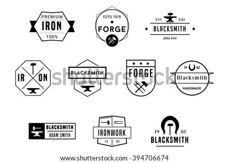 Blacksmith Badges Black Vector Logos - stock vector