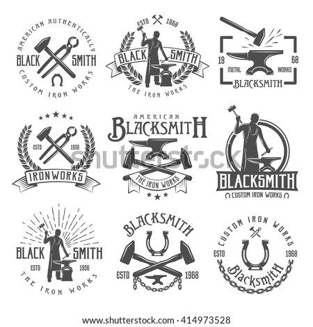 Blacksmith graphic vintage emblems with working craftsman hammers anvil chain horseshoe wheat and inscriptions isolated vector illustration   - stock vector