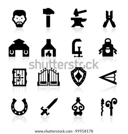 Blacksmith icons set - elegant series - stock vector