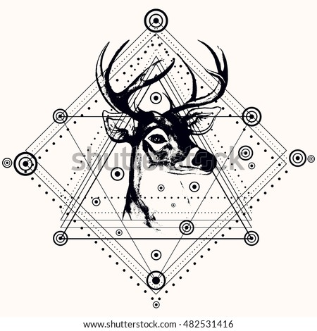 blackwork deer triangular pyramidsilhouette deer headvectortrendy stock vector 482531416. Black Bedroom Furniture Sets. Home Design Ideas