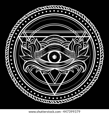 Blackwork Dotwork Tattoo Eye Providence Masonic Stock Photo Photo