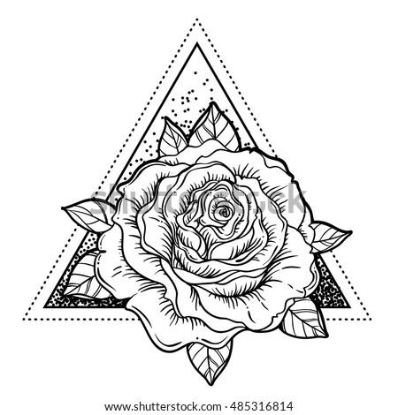 Decorative Antique Hourglass Roses Illustration Isolated Stock ...