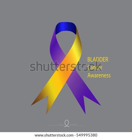 Bladder Cancer Awareness Yellow Blue Violet Stock Vector 549995380
