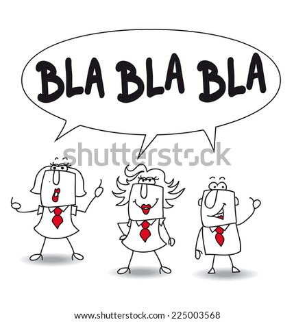 blah. Those persons are speaking but their conversations are boring and without meaningful content - stock vector
