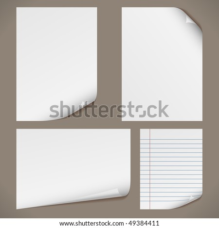 Blank A4 papers with curled corners and notepad lined page. Original proportions are kept. - stock vector