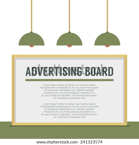 Blank Advertising Billboard On White Wall Vector Illustration - stock vector