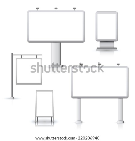 Blank advertising sign outdoor boards set isolated vector illustration. - stock vector