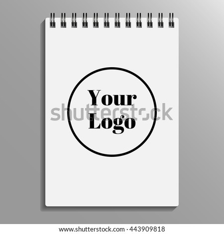 Blank album notepad template on gradient background with soft shadows. Vector illustration. EPS10. mockup notepad, sample album, copybook, notebook, sketchpad, writing-pad. - stock vector