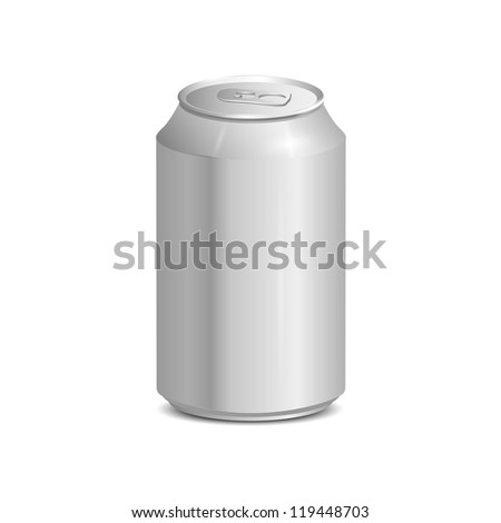 Blank aluminum can. Realistic vector illustration