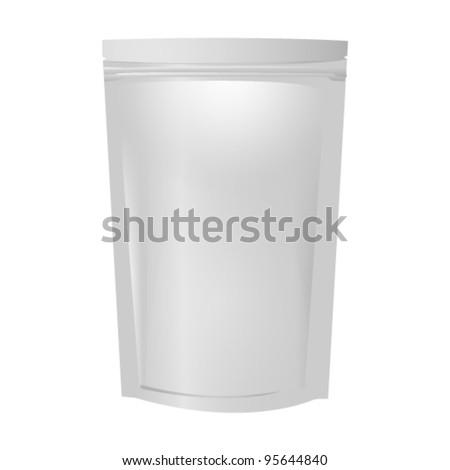 Blank aluminum foil bag package - stock vector