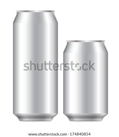 blank 330 and 500 ml. aluminium can use for beer, lager, alcohol, soft drink, soda, lemonade, cola, energy drink, juice, water etc. - stock vector