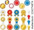 Blank award ribbon rosettes - stock vector