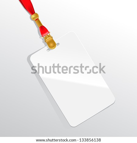 Blank badge on a red neckband. - stock vector