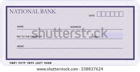 Blank bank cheque template in shades of violet - stock vector