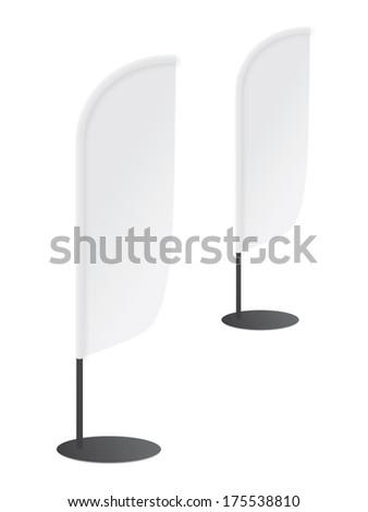 Blank banner flag for designers on white background  - stock vector