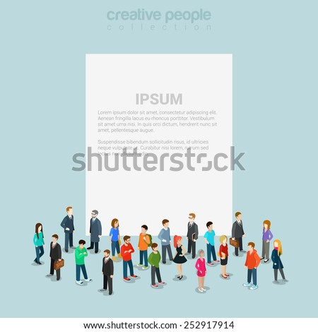 Blank banner template with crowd of casual micro people around flat 3d web isometric infographic concept vector. Creative people collection. - stock vector