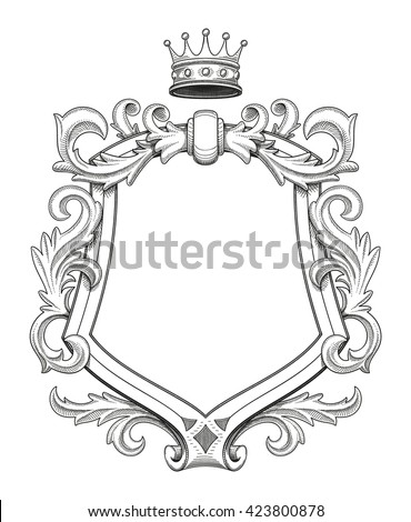 Blank baroque shield with floral ornament and stroked shades. Hand drawn vintage heraldic insignia design isolated on white. Old style flourish swirls and rococo decor. Royal crown on top.