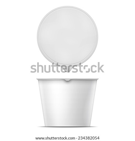 Blank big white bowl for instant noodles, mashed potato or soup template. Packaging collection. Vector illustration. - stock vector