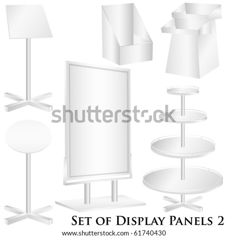 Blank billboard, display panels vector isolated on white - stock vector