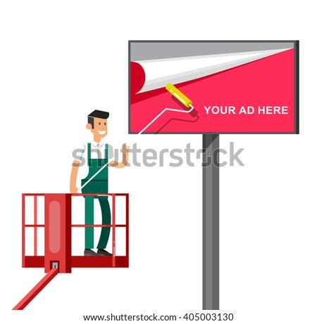 Blank billboard for new advertisement with Vector detailed character men worker on lift isolated on white background. - stock vector