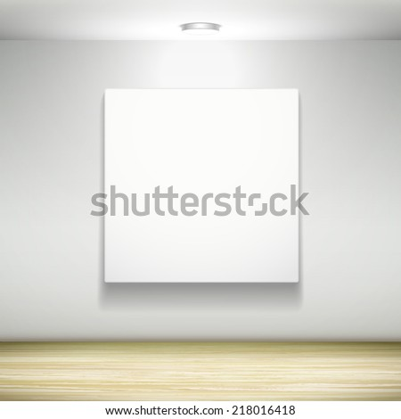 blank billboard hanging on the wall with light - stock vector