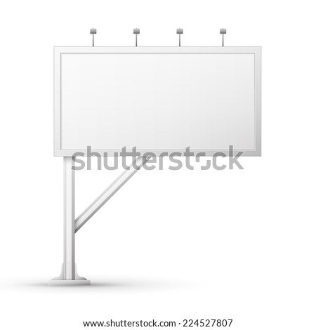 Blank billboard screen, isolated on white