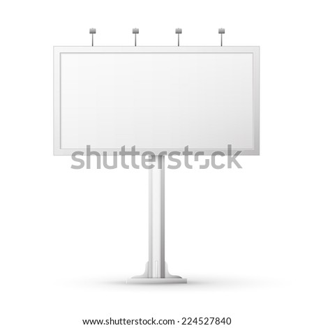 Blank billboard screen, isolated on white - stock vector