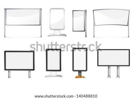 Blank billboard set - stock vector