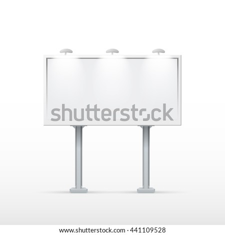 Blank billboard with two legs. Mockup for your advertisement and design. eps10 vector - stock vector