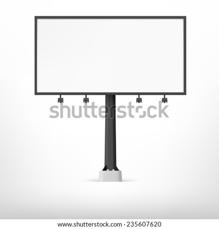 Blank black billboard, vector illustration. Template for your design.