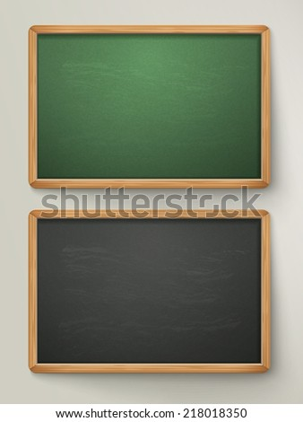 blank black chalkboard set hanging on the wall - stock vector