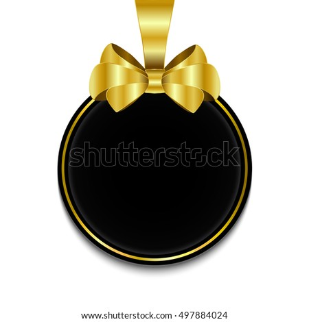 Blank, black round banner with gold ribbon and bow, on white background. Vector illustration
