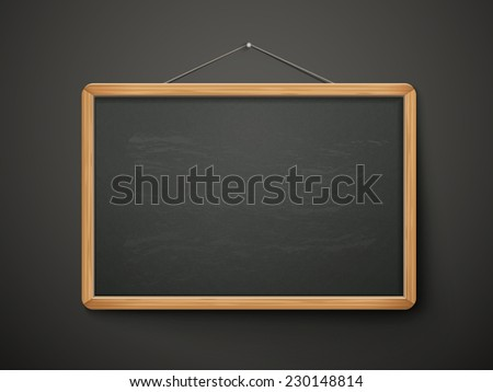 blank blackboard in wooden frame isolated over black background - stock vector