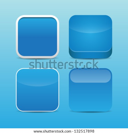 Blank Blue App Icon Templates - stock vector