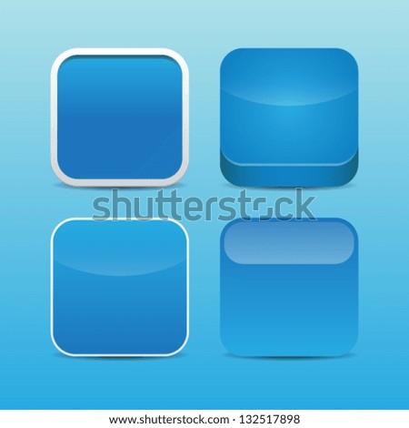 Blank Blue App Icon Templates - stock vector