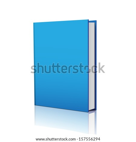 Blank blue book cover over white background  - stock vector