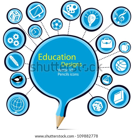 Blank blue pencil education designs with symbols icons. - stock vector